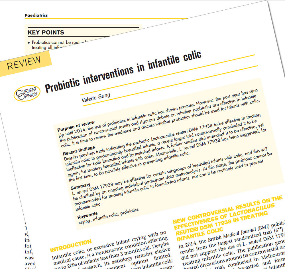 Probiotic interventions in infantile colic - Review: Valerie Sung