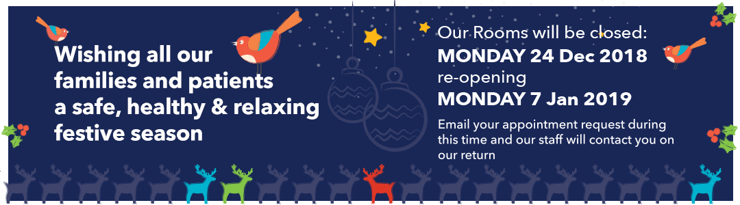 Melbourne Paediatric Specialist Closed on 24 December 2018 (Christmas Eve) reopening Monday 7 January 2019