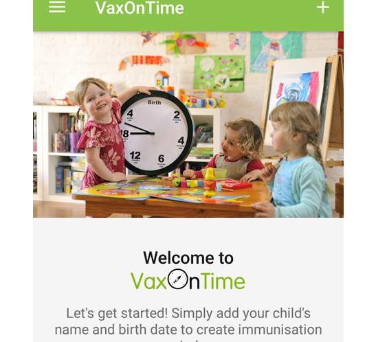 VaxOnTime App - Immunisation reminder