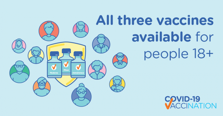 All approved vaccines now available to everyone 18 years and over
